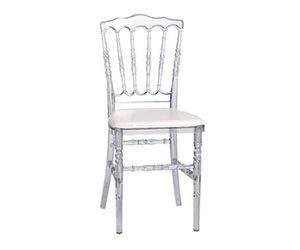chaise napoléon transparente assise blanche à Lavaur